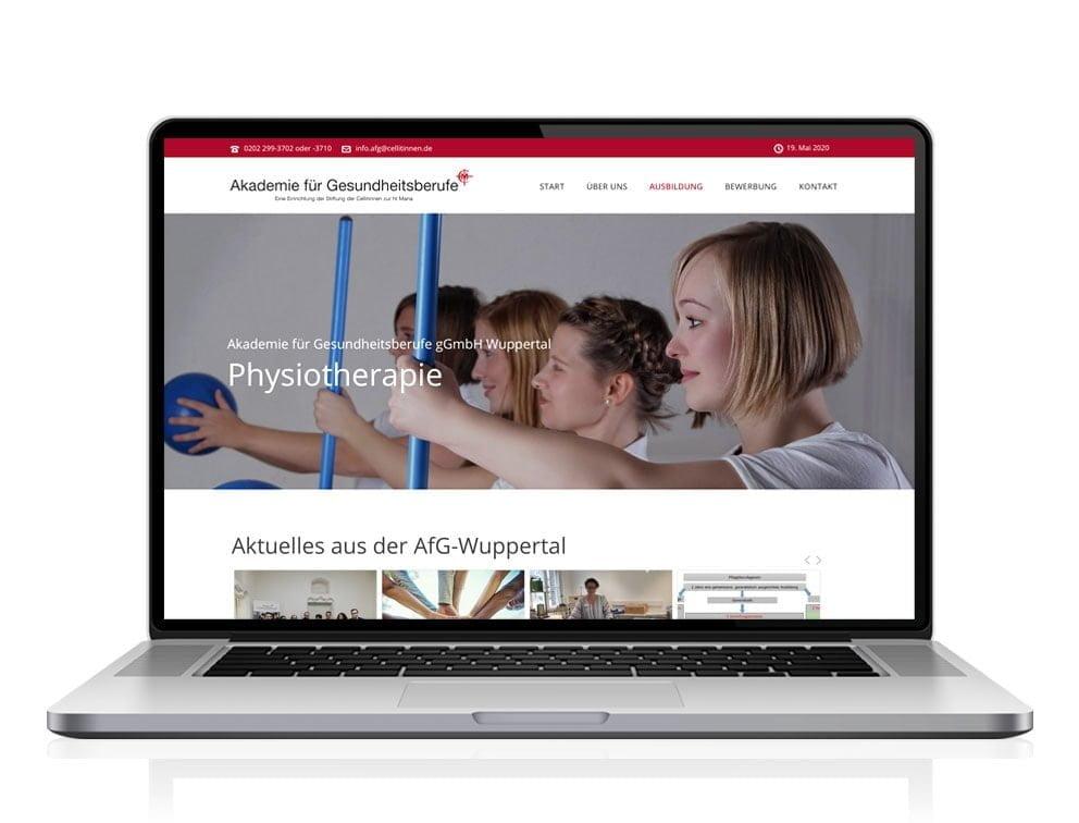 Webdesign designplus Köln Referenz - Responsive Website für die Akademie für Gesundheitsberufe Wuppertal (AfG)