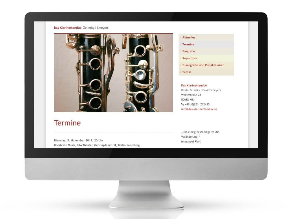 Webdesign Referenzprojekt designplus, Köln für das Klarinettenduo