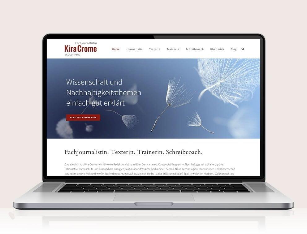 Webdesign designplus Köln Referenz - Responsive Website für ecocontent Kira Crome