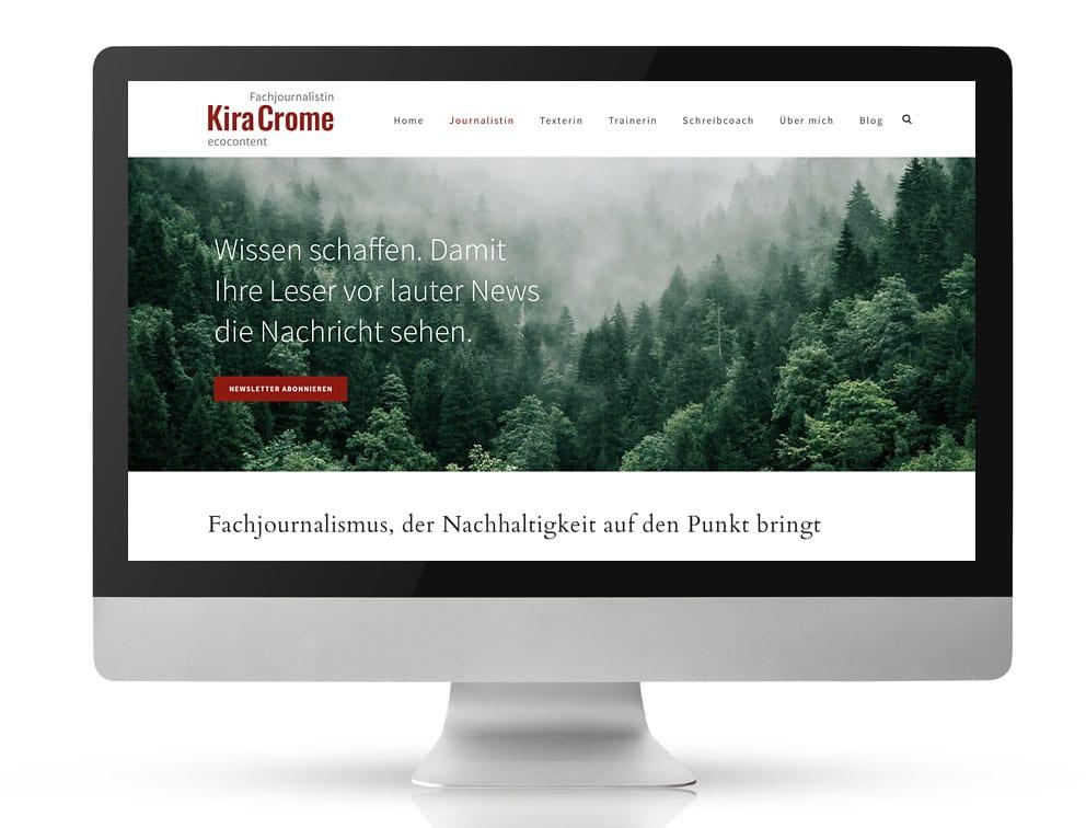 Webdesign Referenzprojekt designplus, Köln für ecocontent Kira Crome