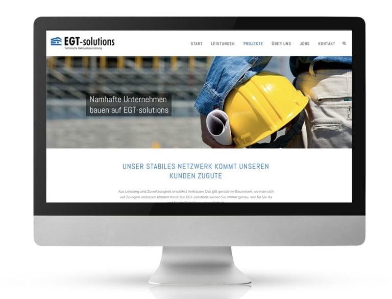 Webdesign Referenzprojekt designplus, Köln für EGT-Solutions Technische Gebäudeausrüstung