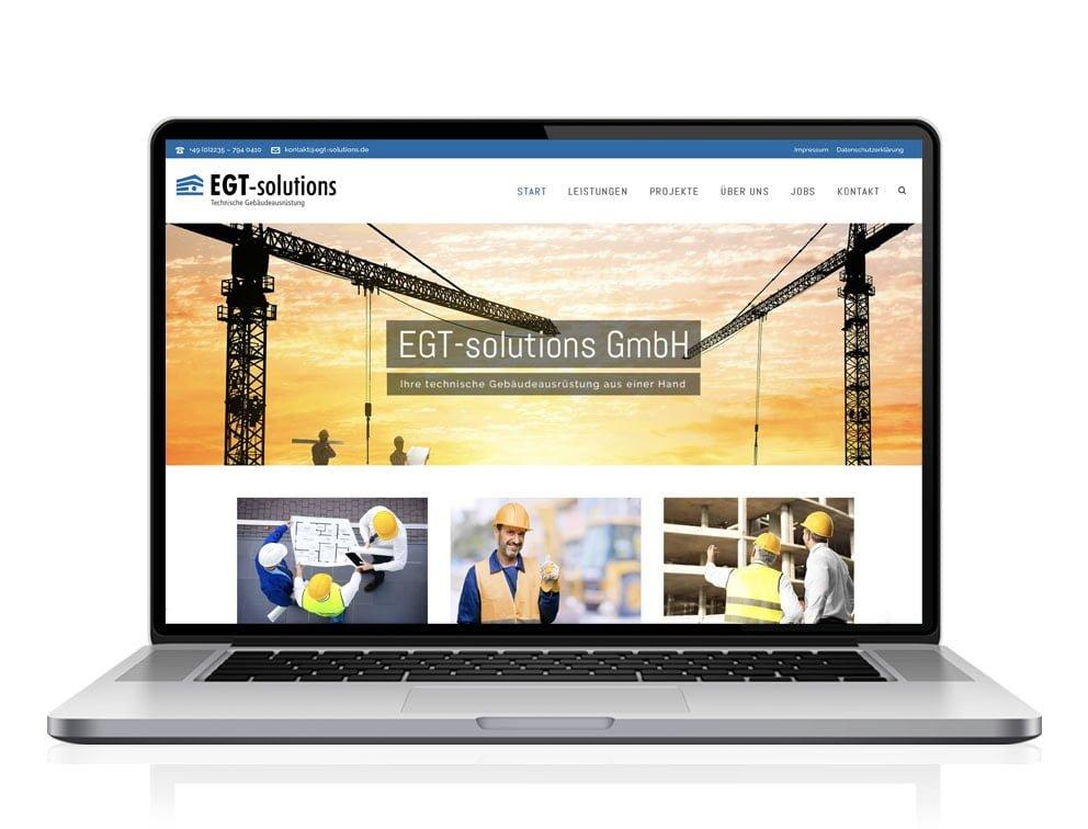 Webdesign designplus Köln Referenz - Responsive Website für die Technischen Gebäudeausrüster EGT-Solutions