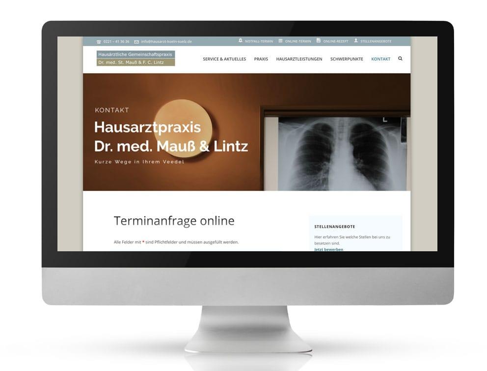 Webdesign Referenzprojekt designplus, Köln für die Hausarztpraxis Dr. Mauß und Lintz Köln-Sülz