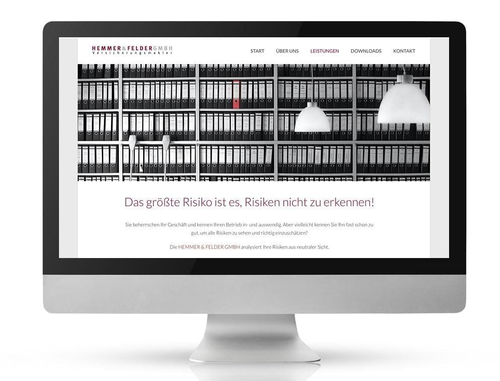 Webdesign Referenzprojekt designplus, Köln für die Versicherungsmakler Hemmer und Felder Köln