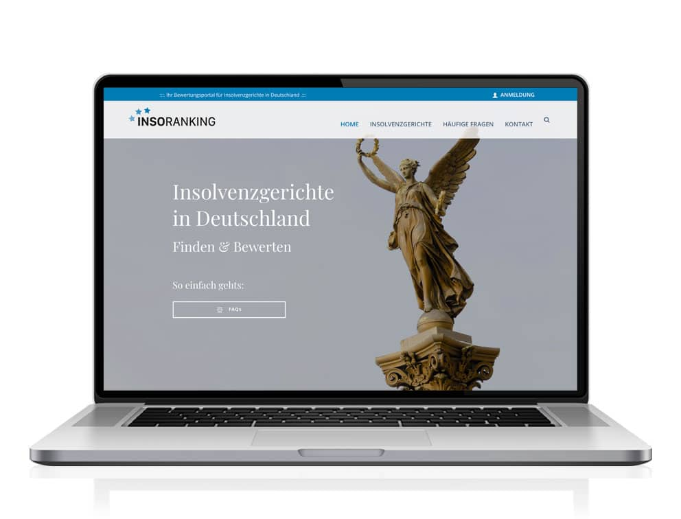 Webdesign designplus Köln Referenz - Responsive Website für das Bewertungsportal Insolvenzgerichte in Deutschland