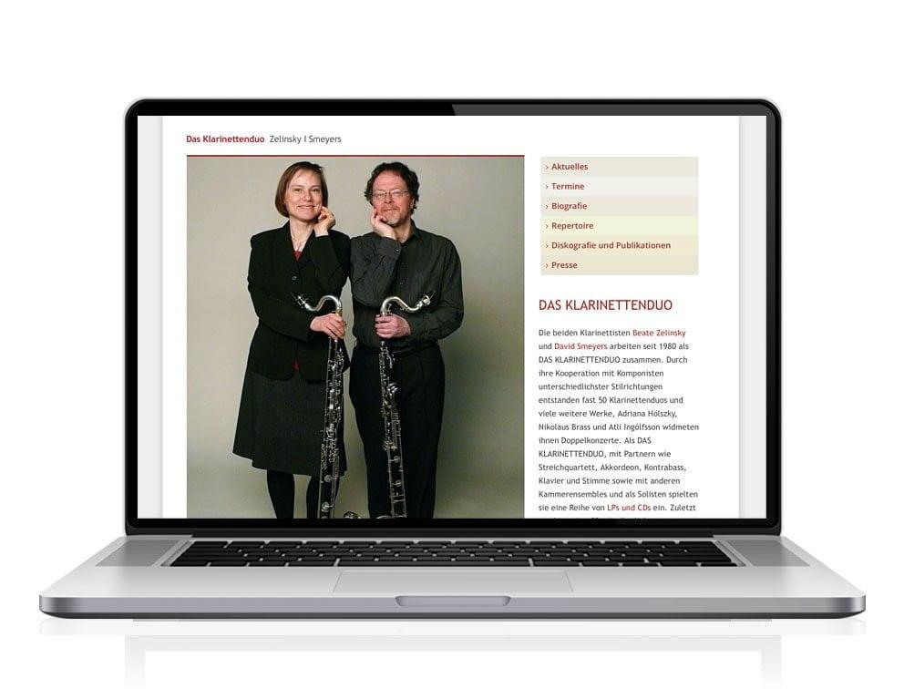 Webdesign designplus Köln Referenz - Responsive Website für das Klarinettenduo Köln auf CMS WordPress