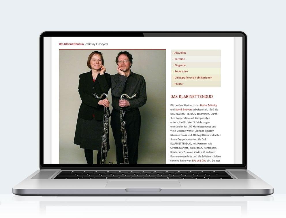 Webdesign designplus Köln Referenz - Responsive Website für das Klarinettenduo Köln