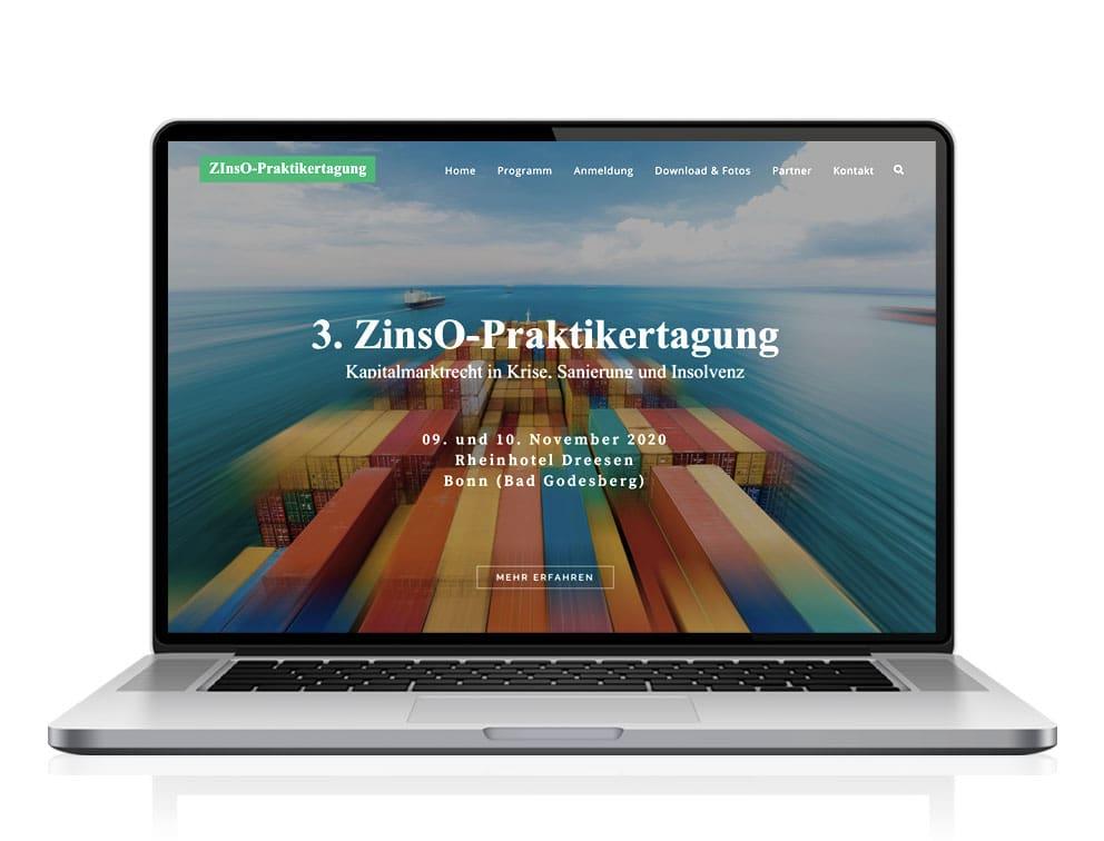 Webdesign designplus Köln Referenz - Responsive Website für die ZInsO-Praktikertagung Krise und Sanierung vom DIAI
