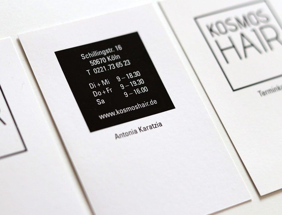 Grafik-Design Geschäftsausstattung Referenz Kosmoshair Friseursalon Köln