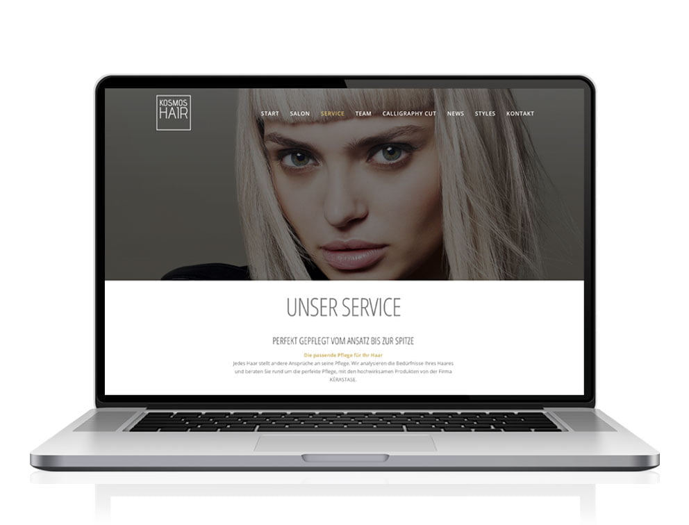 Webdesign Referenzprojekt designplus, Köln für Kosmoshair Friseursalon Köln