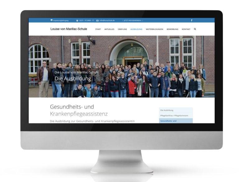Webdesign Referenzprojekt designplus, Köln für die Louise von Marillac Krankenpfleger-Schule Köln