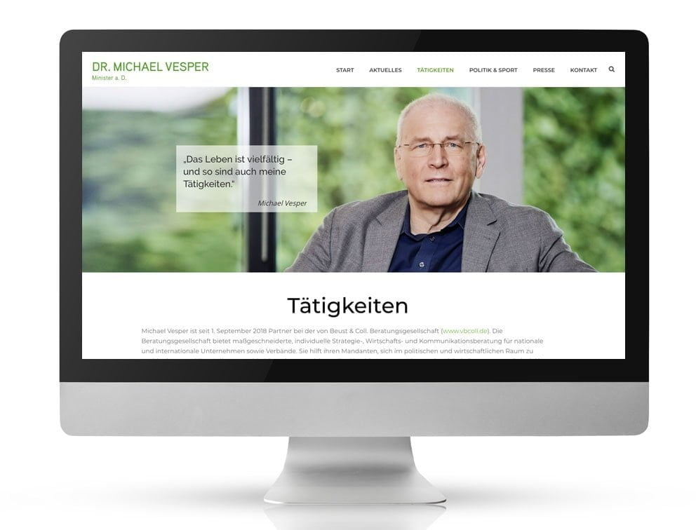Webdesign Referenzprojekt designplus, Köln für den Minister a.D. Michael Vesper