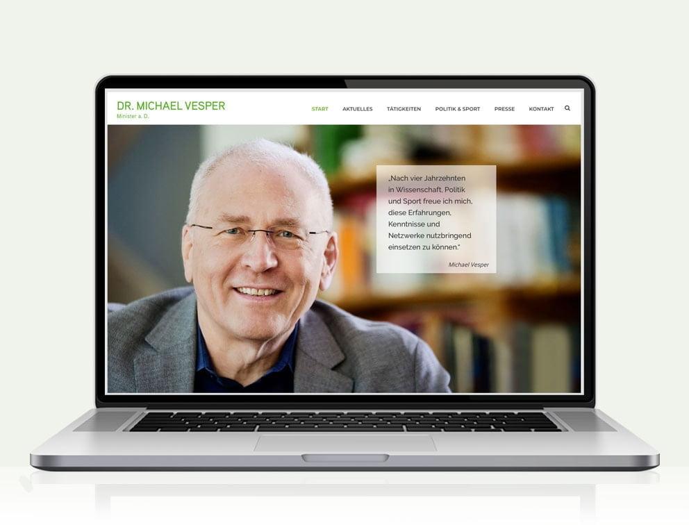Webdesign designplus Köln Referenz - Responsive Website für den Minister a.D. Michael Vesper