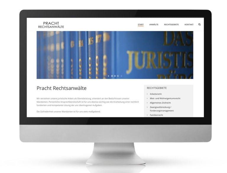 Webdesign Referenzprojekt designplus, Köln für Pracht Rechtsanwälte