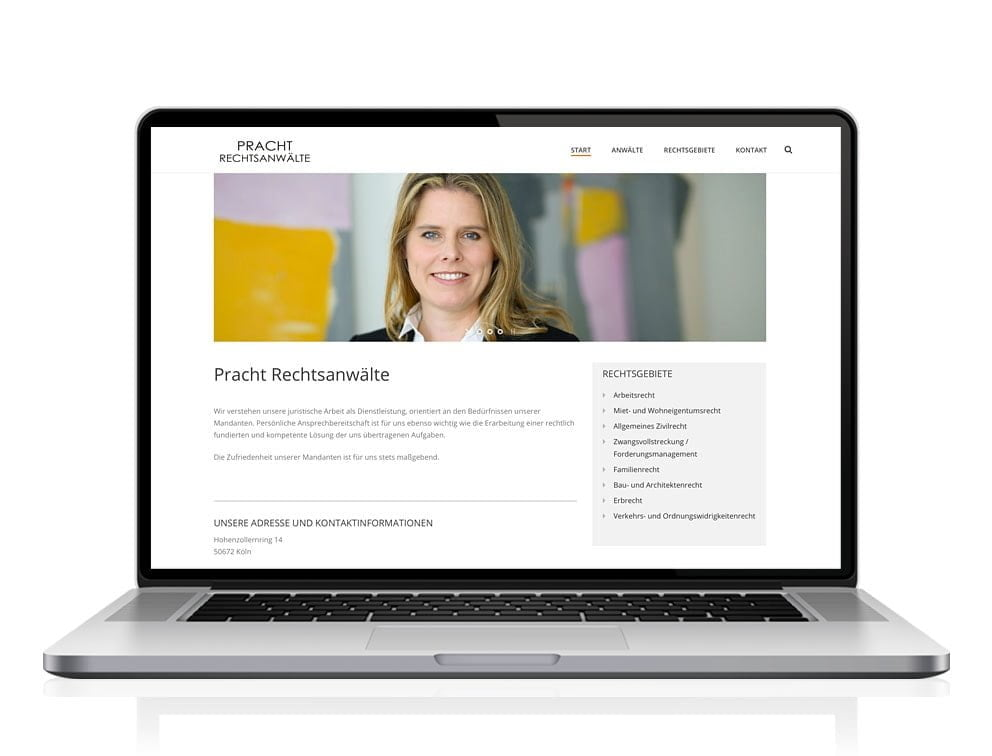 Webdesign designplus Köln Referenz - Responsive Website für Pracht Rechtsanwaltskanzlei