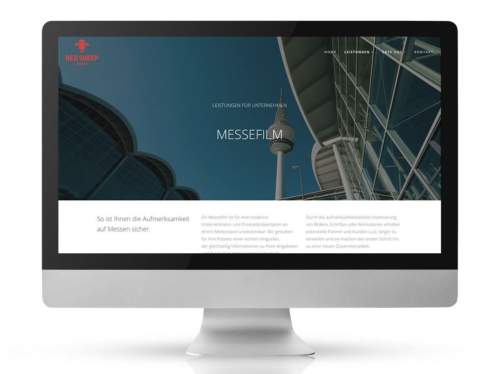 Webdesign Referenzprojekt designplus, Köln für die Filmproduktionsfirma Red Sheep Media in Köln