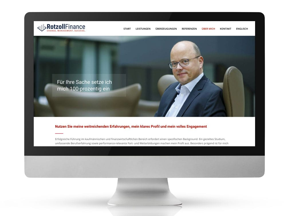 Webdesign Referenzprojekt designplus, Köln für Rotzoll Finance