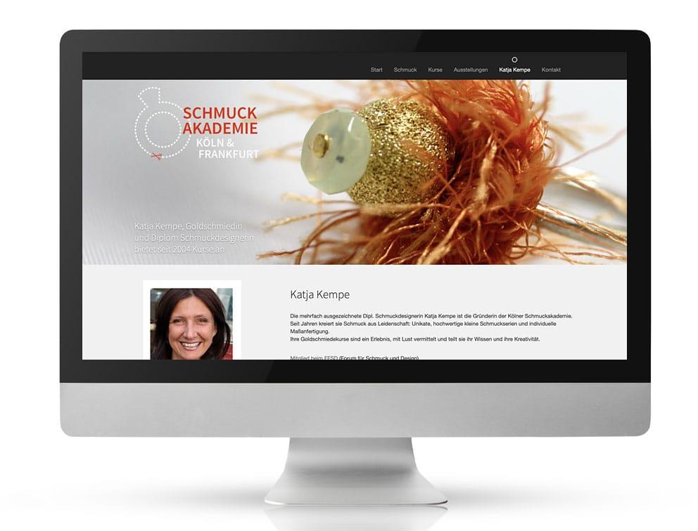 Webdesign Referenzprojekt designplus, Köln für die Schmuckakademie Köln