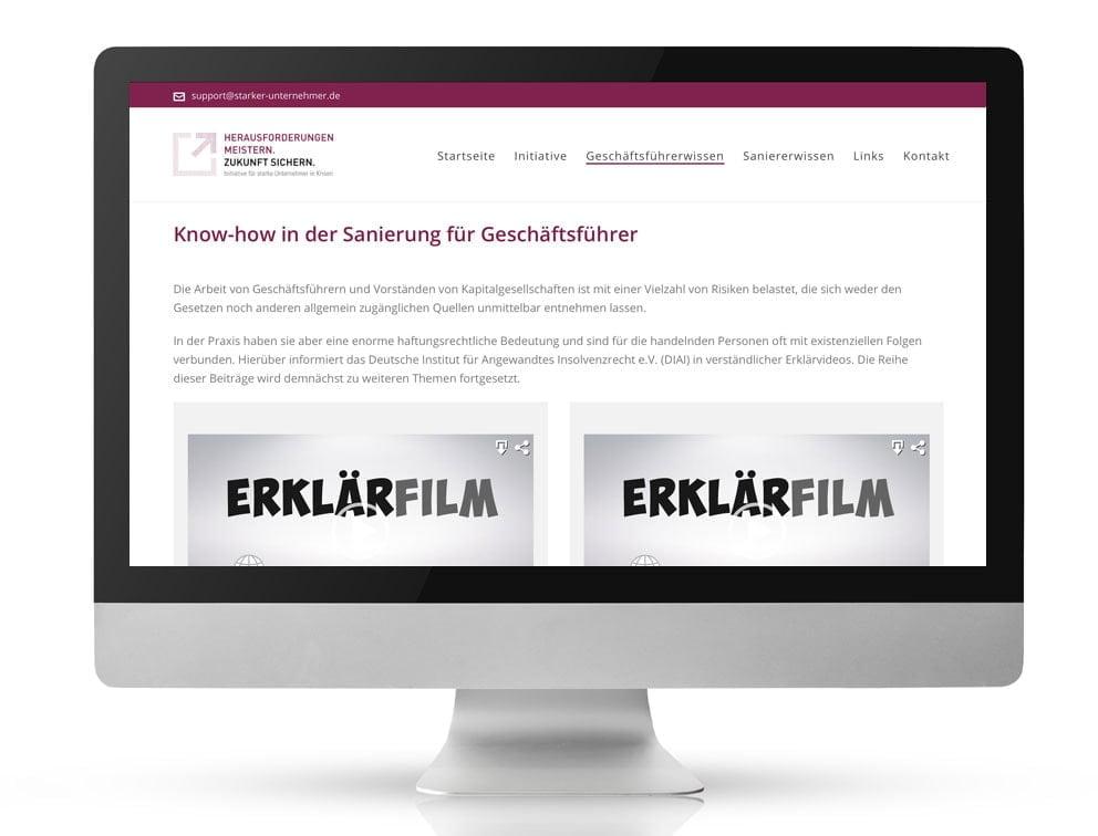 Webdesign Referenzprojekt designplus, Köln für das Portal Starke-Unternehmer