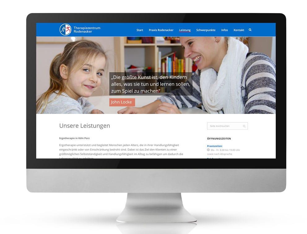 Webdesign Referenzprojekt designplus, Köln für das Therapiezentrum Rodenacker in Köln-Porz