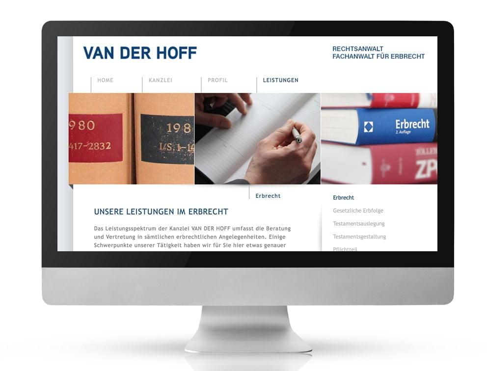 Webdesign Referenzprojekt designplus, Köln für Van der Hoff Rechtsanwalt für Erbrecht