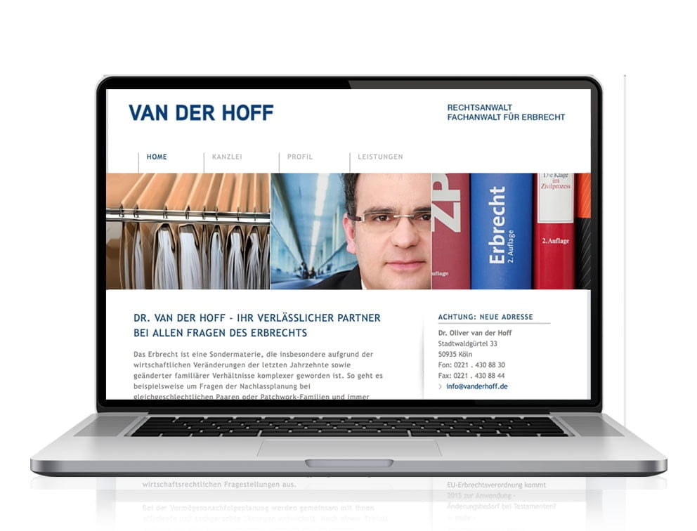 Webdesign designplus Köln Referenz - Responsive Website für Rechtsanwalt Van der Hoff Köln
