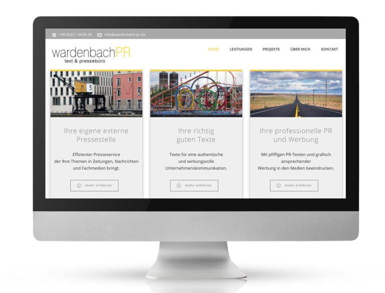 Webdesign Referenzprojekt designplus, Köln für Wardenbach PR Köln