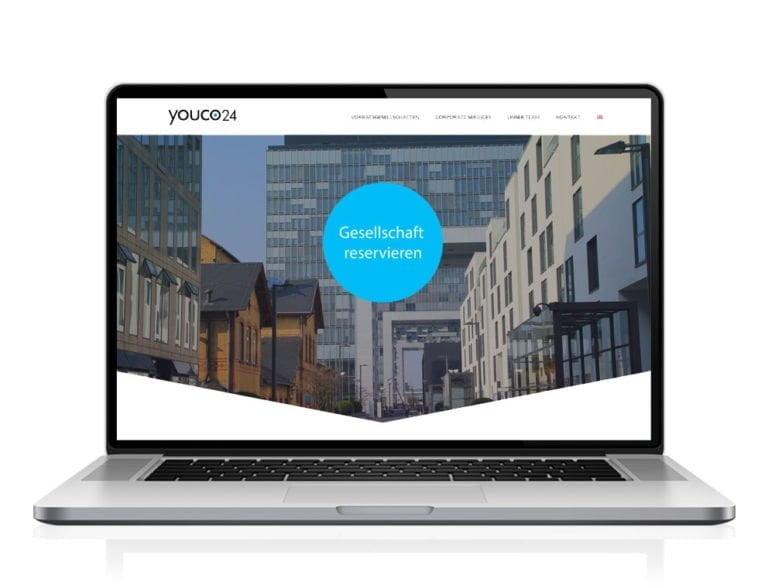 Webdesign designplus Köln Referenz - Responsive Website für youco24 - Reservierung von Gesellschaftsformen