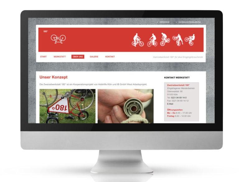 Webdesign Referenzprojekt designplus, Köln für die Zweiradwerkstatt-180-Grad