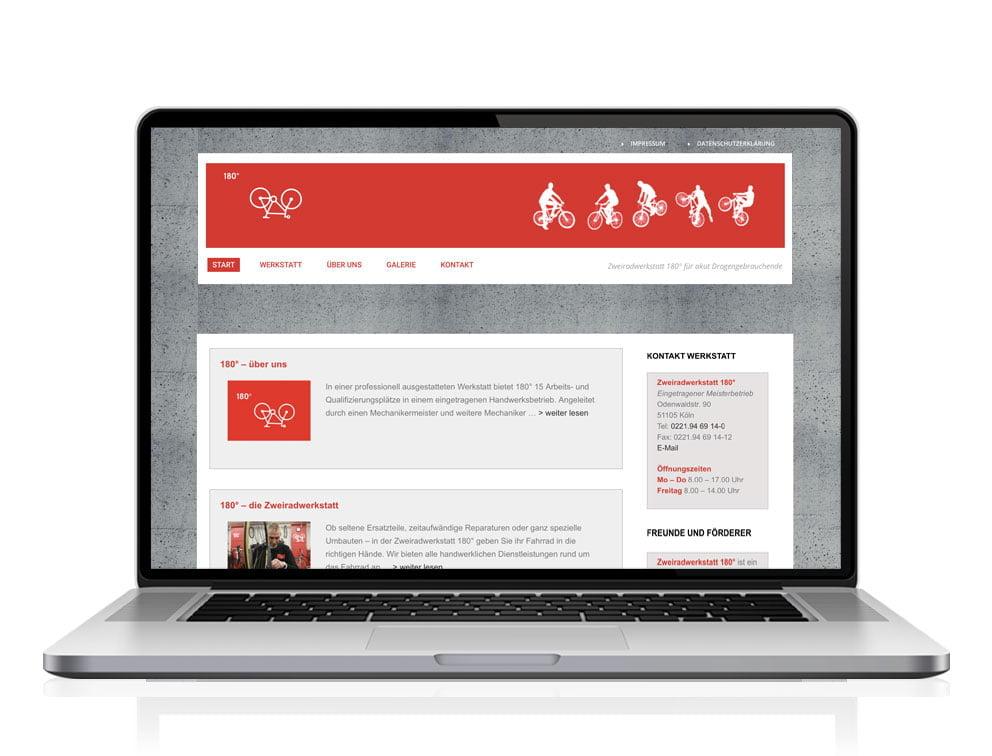 Webdesign designplus Köln Referenz - Responsive Website für das Arbeitsprojekt Zweiradwerkstatt 180-Grad